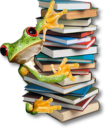 treefrog climbing on a pile of books