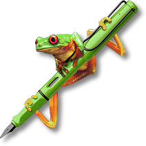 treefrog perching on a fountain pen